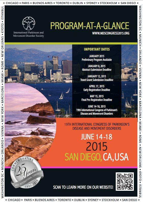19th International Congress of Parkinson's Disease and Movement Disorders: http://www.tumkongreler.com/kongre/19th-international-congress-parkinsons-disease-and-movement-disorders #Parkinson #MovementDisorders #Neurology #SanDiego #USA #Nöroloji #HareketBozuklukları