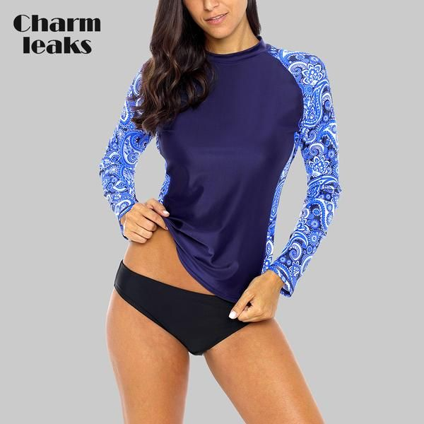 140aacfd760 Charmleaks Women' Rash Guard Swimwear Long Sleeve Rashguard Biking Shirts  Surf Top Retro Print Running Shirt Swimsuit… #Discounts #BestPrice