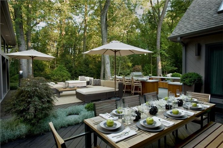 Encourage On-Deck Dining Take your meals al fresco with a dining table and outdoor chairs on your deck. Keep a long surface nearby for serving meals buffet style. Easy access to the indoor kitchen is a bonus. Other nice-to-haves: serving carts and an outdoor bar or serving island. Outdoor Kitchen and Dining by Susan Fredman