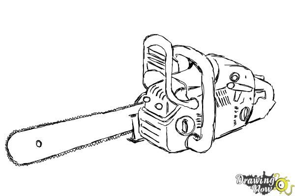 How To Draw A Chainsaw Drawingnow Drawings Chainsaw Draw