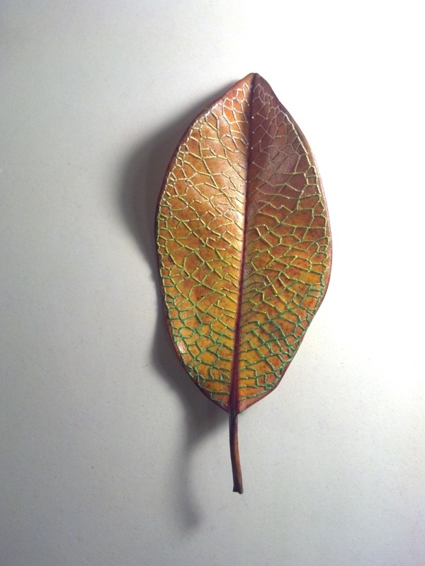 Embroidered magnolia leaves by heather riniker via