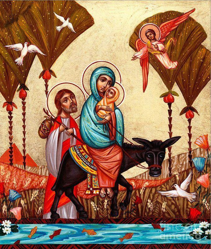 "Flight into Egypt , Coptic icon by the Bulgarian artist ""Yordanka Karalamova"