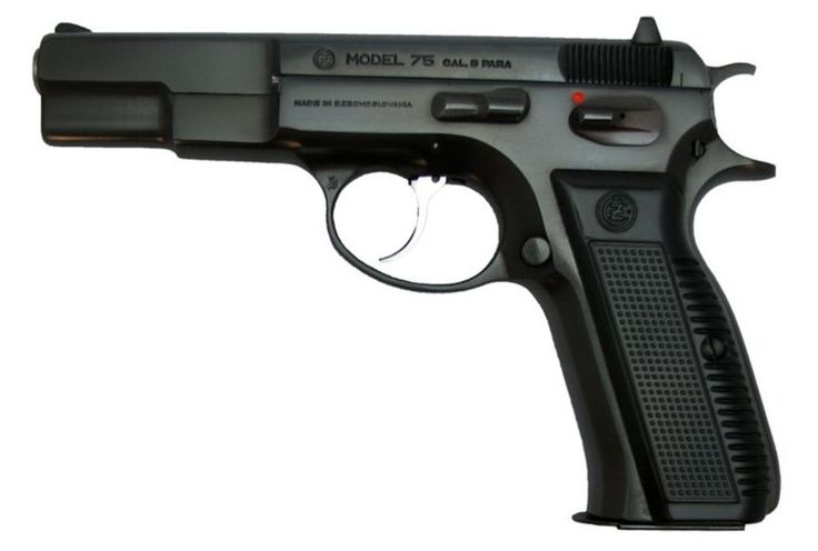 """CZ 75-a pistol made in the Czech Republic that has both semi-automatic and selective fire variants. First introduced in 1975, it is one of the original """"wonder nines"""" featuring a staggered-column magazine, all-steel construction, and a hammer forged barrel. It has a good reputation amongst pistol shooters for quality and versatility at a reasonable price."""