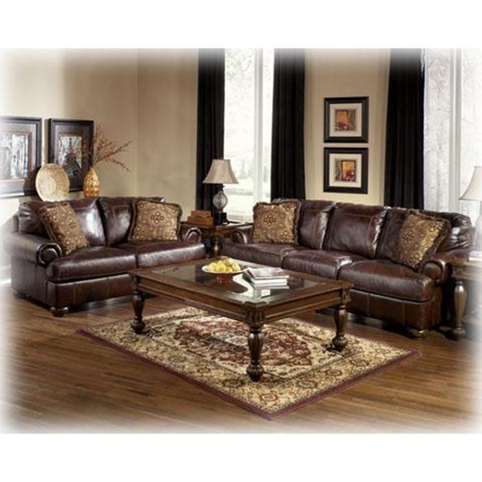 2 Piece Brown Leather Living Room Set