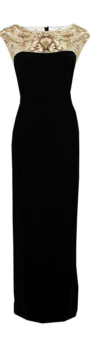 Notte By Marchesa  ● Black Embroidered Illusion Neckline Dress