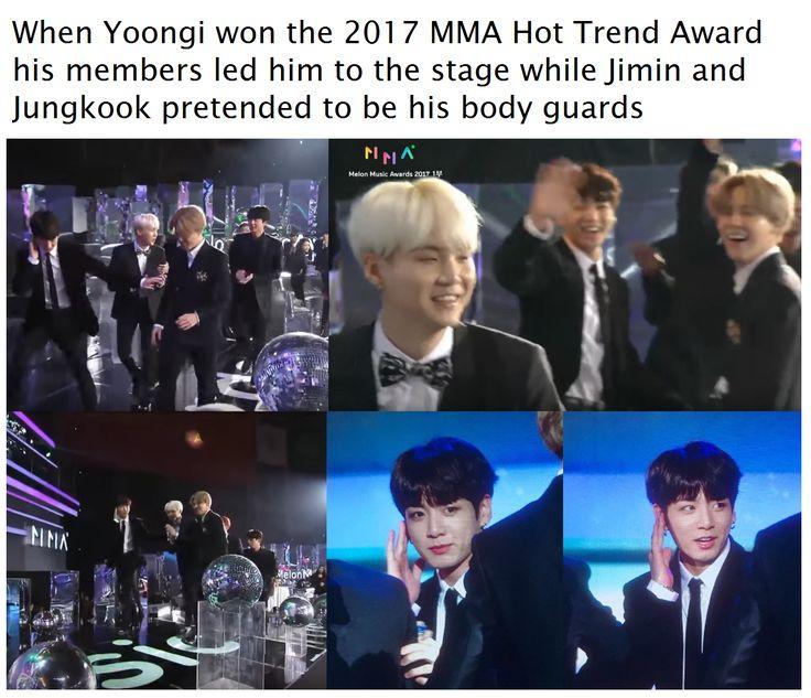 Yoongi won 2017 MMA Hot Trend Award ... Love them> JungKook and Jimin are so Extra