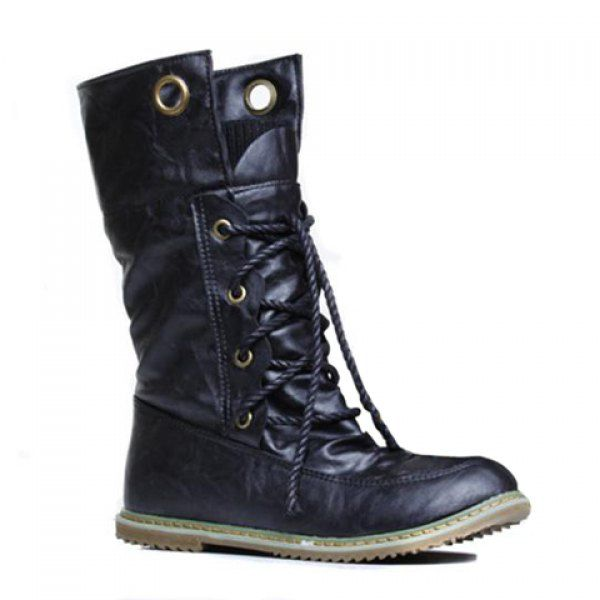 Fashionable Round Toe and Lace-Up Design Sweater Boots For Women (BLACK,39) in Boots | DressLily.com