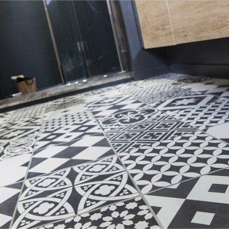 Carrelage sol et mur noir et blanc effet ciment Gatsby l.20 x L.20 cm