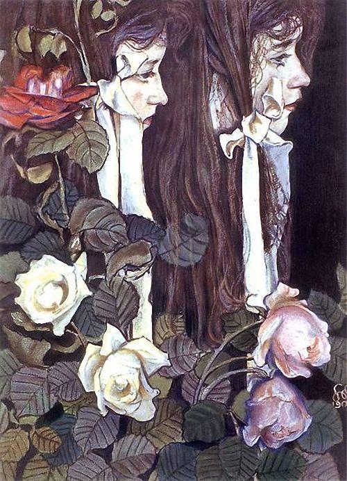 Stanisław Wyspiański, Double portrait of Eliza Pareńska, 1905