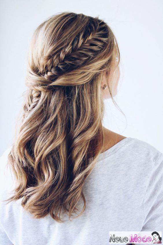 Halboffene Frisur – Neue Halboffene Frisuren 2019 … – #festliche #Frisur #Fris