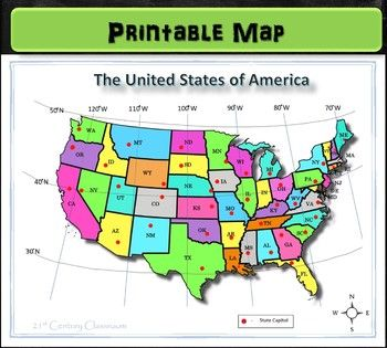 Us Map With Latitude And Longitude Printable This colorful and simplified map of the United States shows the
