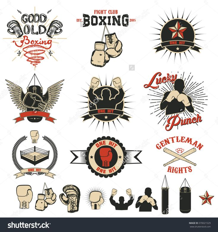 Set of the boxing club labels, emblems and design elements.  Design elements for logo, label, emblem,  insignia, sign, identity, logotype, poster. Boxing club