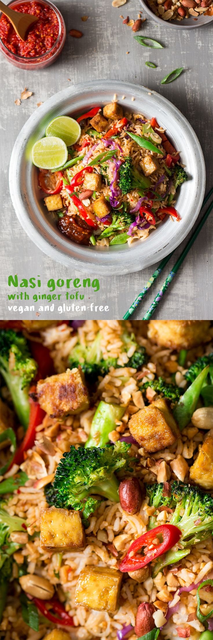 Nasi goreng//tofu, ginger, lime, red chiles, scallions, green beans, red bell, broccoli, peanuts [cook rice ahead]