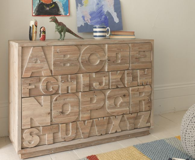 The Letter Head chest of drawers is a real hit with the kids. It looks seriously cool and is super practical too, with touch latches for easy opening.