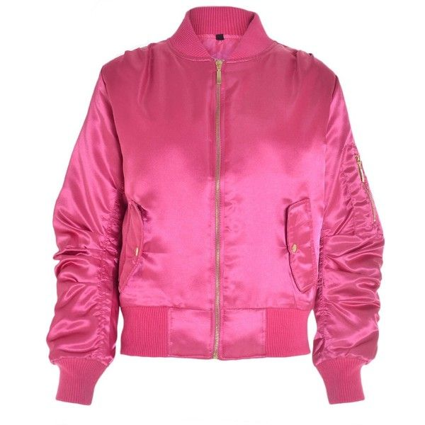 Niamh Satin Bomber Jacket in Cerise ($35) ❤ liked on Polyvore featuring outerwear, jackets, satin jackets, pocket jacket, bomber style jacket, pink bomber jacket and bomber jackets
