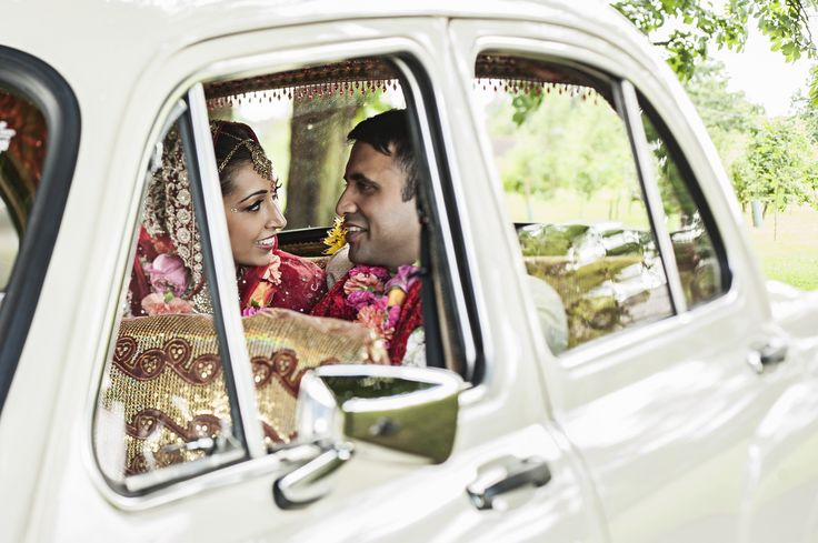 British Vintage Indian Summer Wedding Ambassador Car | wilmaeventdesign.com | Photography by Chris Parkes