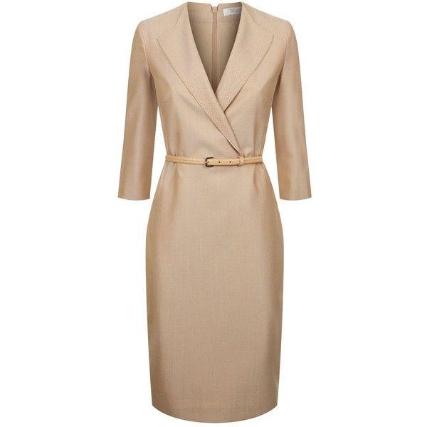 Max Mara Belted Lapel Dress ($660) ❤ liked on Polyvore featuring dresses, beige dress, formal dresses, belted dresses, formal wear dresses and formal occasion dresses