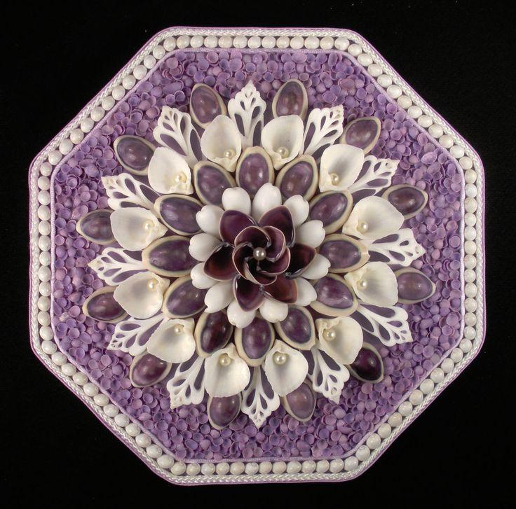 "Seashell Art SAILORS VALENTINE Octagon Shell Mosaic - Lavender & White - 8"" | Collectibles, Decorative Collectibles, Seashells | eBay!"