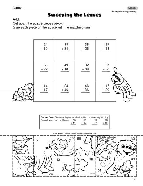 Math Worksheet: 2-digit addition with regrouping