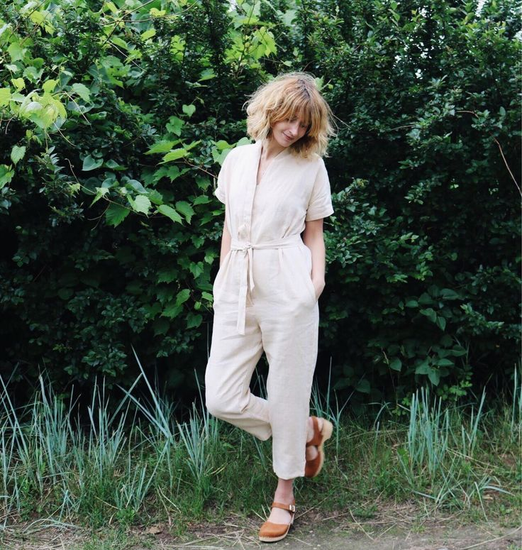 Kimono Jumpsuit in Ivory Linen - Short Sleeve Kimono Linen Jumpsuit - Women Linen Overall - Ivory Linen Playsuit - Handmade by OFFON by OffOn on Etsy