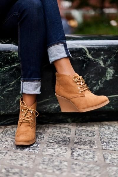 Lace up wedges with dark scrolled up jeans