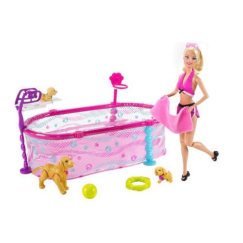 Barbie puppy swim school doll set mattel toys r us - Toys r us swimming pools for kids ...