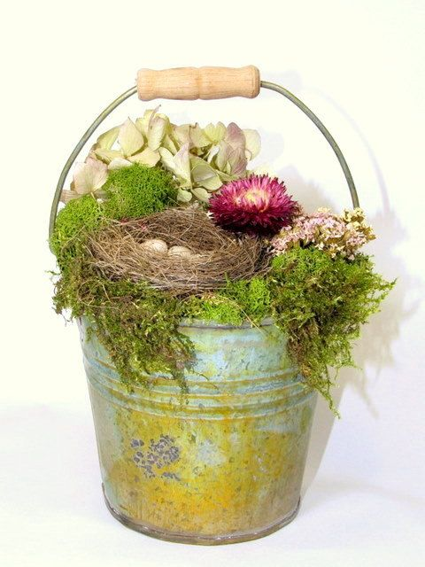 love this ~ Dried Flower Arrangement, Petite Pail