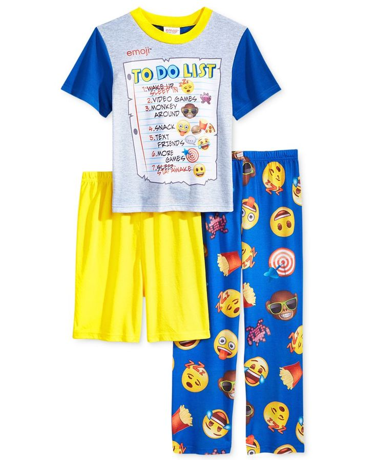 3-Pc. Emoji To Do List Pajama Set, Little Boys (2-7) & Big Boys (8-20)