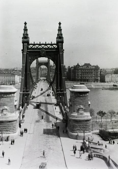 Erzsébet híd a Gellérthegyről nézve.