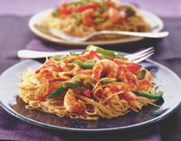 Healthy Pasta With Sun- Dried Tomato Pesto and Shrimp:   CALORIES	340.2 CAL  FAT	7.3 G  SATURATED FAT	1.4G CHOLESTEROL	116.7 MG  SODIUM	351.4 MG  CARBOHYDRATES	45.7 G  TOTAL SUGARS	7 G  DIETARY FIBER	4.2 G  PROTEIN	24.8 G
