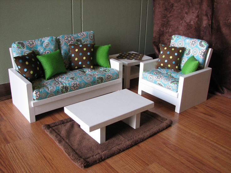 American Girl sized / 18 inch doll furniture - 4 Piece Living Room Set in  Aqua Blue / Brown - 28 Best Images About AG Living Room On Pinterest Chairs, Living