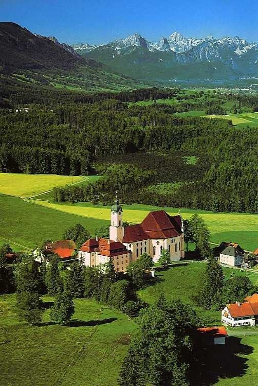 Wieskirche (Wallfahrtskirche zum Gekreuzigten Heiland auf der Wies), Steingaden, Bavaria, Germany. Beautiful Pilger Church.