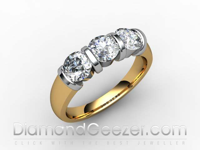 Round Brilliant Cut Trilogy Ring 18ct Hallmarked Yellow Gold 3 Stone Diamond Ring I.D. 01-2833-1001