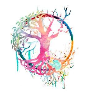 tatouage arbre de vie aquarelle