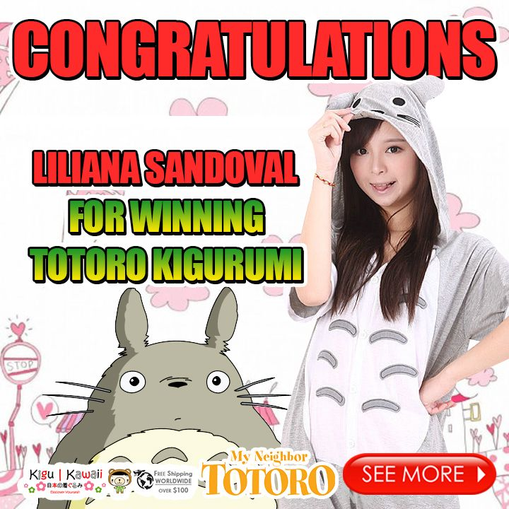 Our Lucky Lovely Kawaii Summer Kigu Kawaii Onesie Giveaway winner is finally here! (^O^) ♥ ♥ ♥  Congratulations to Liliana Sandoval for winning Totoro Summer Kigurumi! Please kindly message us on support@kigukawaii.com on how to claim your prize.  Our endless thank you to everyone who supported our giveaway! With so much gratitude, we would like to give everyone who participated the contest a discount code!   Here's your 10% discount #KiguKawaii lovers!  Coupon code: LoveKiguKawaii