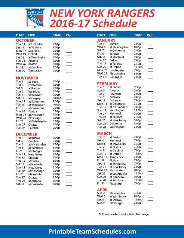 New York Rangers Hockey Schedule 2016- 2017 Print Here - http://printableteamschedules.com/NHL/newyorkrangersschedule.php