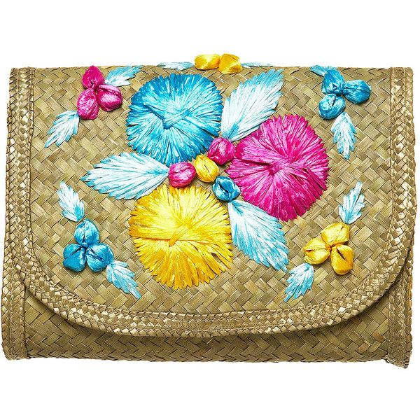 Applique Floral Clutch Bag (480 ARS) ❤ liked on Polyvore featuring bags, handbags, clutches, borse, clutch bags, bags &amp purses, floral clutches, straw handbags, flower print handbags and applique purse