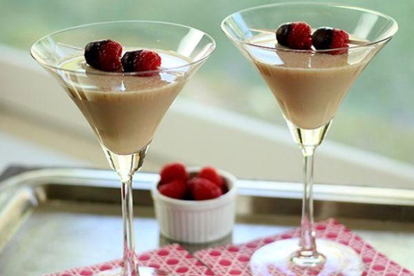 Milk & Honey (Martini - Stir and Strain). 50ml Half & Half, 3 Krupnik, 3 Bacardi Oro, Garnish - 3 raspberries.