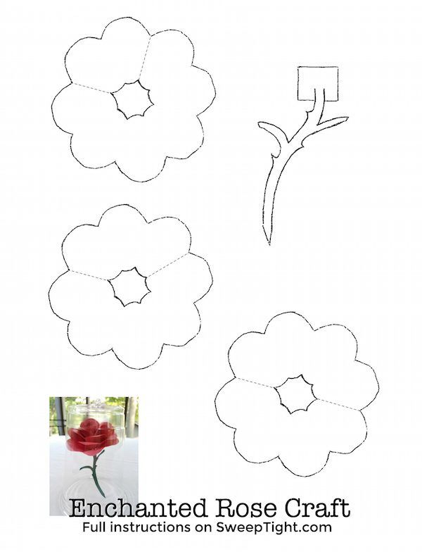 Disney Crafts for kids - Beauty and the Beast Enchanted Rose Printable
