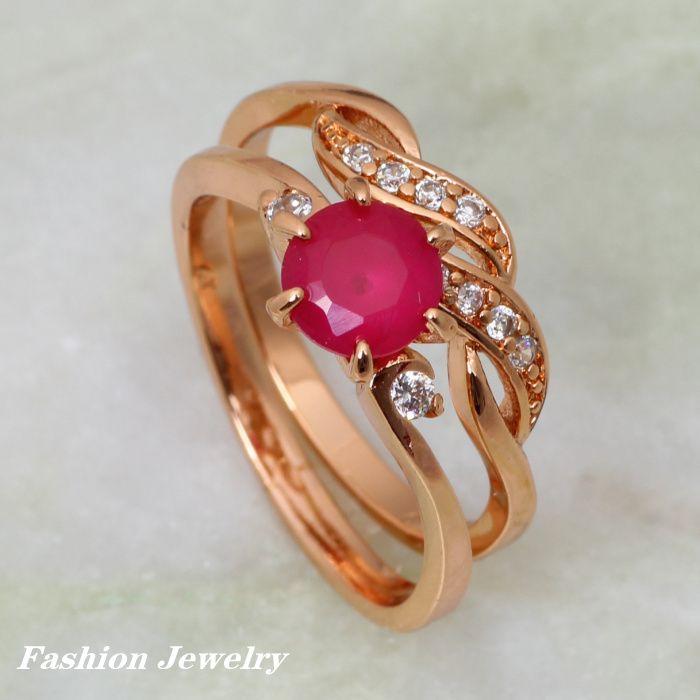 Barato 18 K rosa banhado a ouro anéis, Ruby & Cubic Zirconia anéis anéis conjuntos de jóias R111, Compro Qualidade Anéis diretamente de fornecedores da China:     Glam Luxe Mysterious 18K Yellow Gold  Plated Peridot Pendants/Ring/Earring jewelry Sets S066USD 9.80/pieceNew Statem
