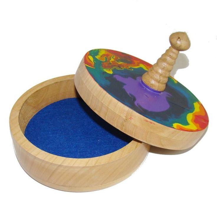 KADORIS.RO: MOSOREL COLOR - Casetă rotundă cu capac (UNICAT, lemn natur)