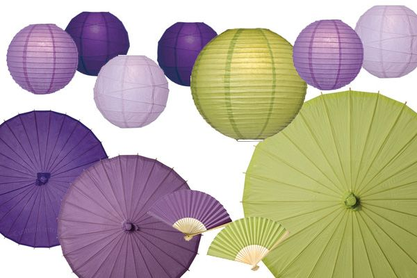 Shades of purple: lilac, plum and Bellflower, with a green accent: Lamb's Ear. Trendspotting at the New York Wedding Salon Show ~ Luna Bazaar Blog - Decorate & Celebrate!