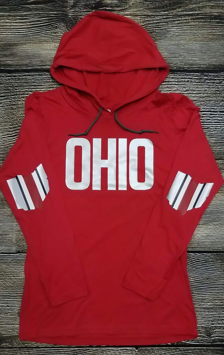 New for Fall 2017 Red Lightweight Hooded Long Sleeve with Silver OHIO on front and Ohio Football Stripes on the elbow patches. Sizes Small-XXL **We...