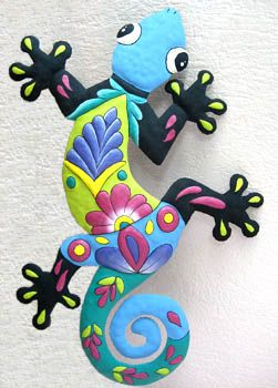 "Ex. Large Blue Gecko Garden Wall Decor - Gecko Painted Metal Hall Hanging - 23"" x 34"" - Tropical Decorating, Tropical Home Decor, Metal Wall Art, Haitian Steel Drum Art, Outdoor Garden Decor - See more handcrafted metal tropical designs at www.TropicAccents.com"