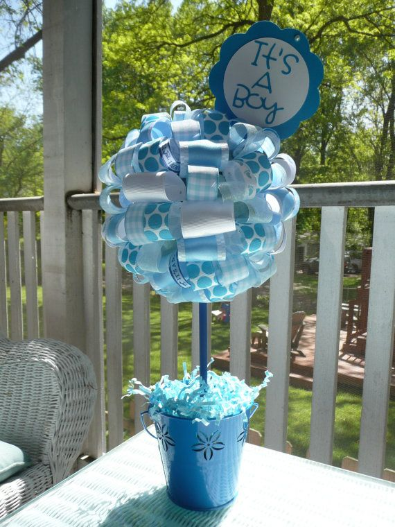 It's a Boy Baby Blue and White Ribbon by BandGinspirations on Etsy - baby shower idea