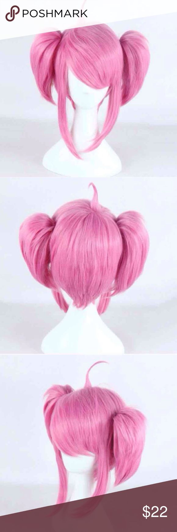 Star Guardian Lux Short Pink Cosplay Wig Short pink bob wig with two small clip-on ponytails. High quality synthetic fibers can be heat styled on the lowest setting. Wig is brand new never worn.  League of Legends Star Guardian Lux Cosplay Costume Halloween Pink Short Bob wig clip on ponytails Accessories Hair Accessories