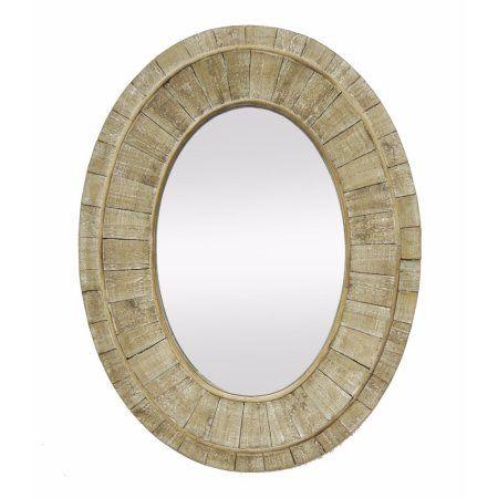 40861 Rustic Wood Framed Mirror- Brown- Benzara, Brown