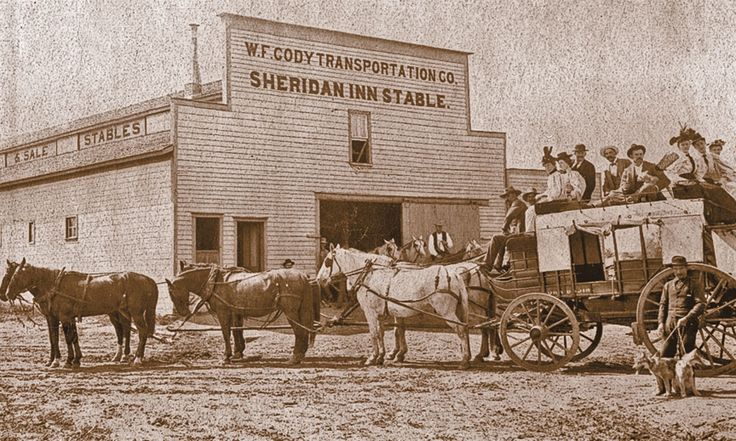 """This historical photo of William """"Buffalo Bill"""" Cody's stagecoach line to the Black Hills in Dakota Territory shows his livery stable, originally built in 1894, which was also used by the Sheridan Inn.  — True West Archives —"""