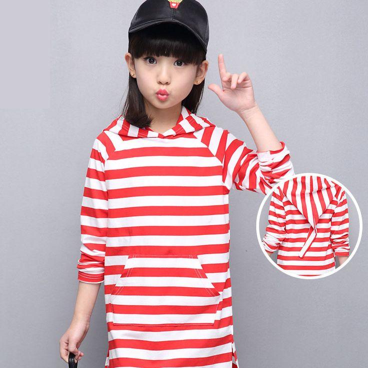 Купить 2017 новый с капюшоном карманы кофты маленькие подростки платье красный синий белый полосатый детские платья для девочек с длинным рукавом веснаи другие товары категории Платьяв магазине GIRLS & BOYS CLOTHINGнаAliExpress. дети платья для особых случаев и ребенок лист