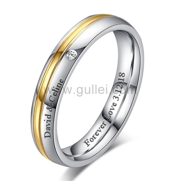 Custom Mens Womens Wedding Ring 4mm Cubic Zirconium Titanium Promise Rings For Guys Custom Wedding Rings Titanium Wedding Rings